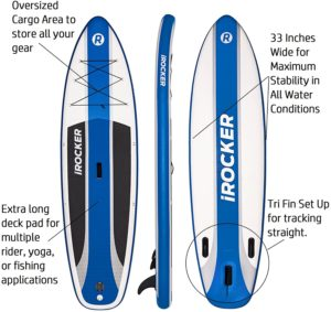 iRocker Inflatable Stand Up Paddle Board 10'6 Long 33 Wide 6 Thick Package