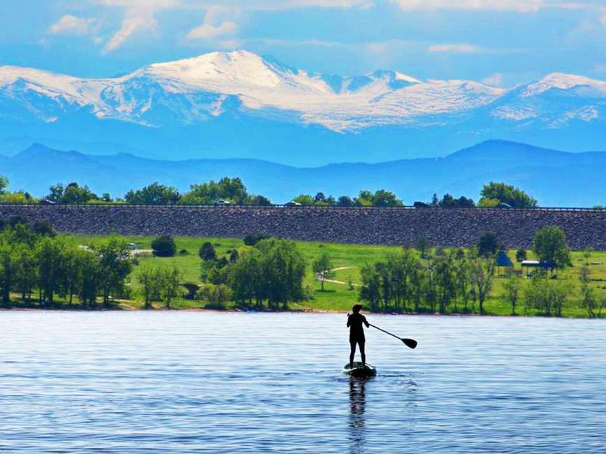 Standup Paddle Boarding in Cherry Creek Reservoir Colorado
