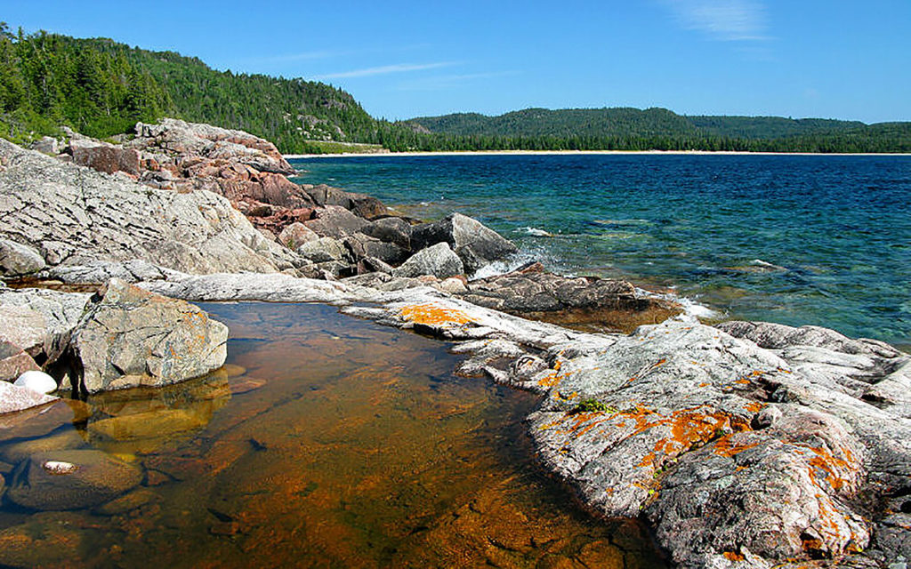 SUP paddle boarding in Lake Superior Provincial Canada