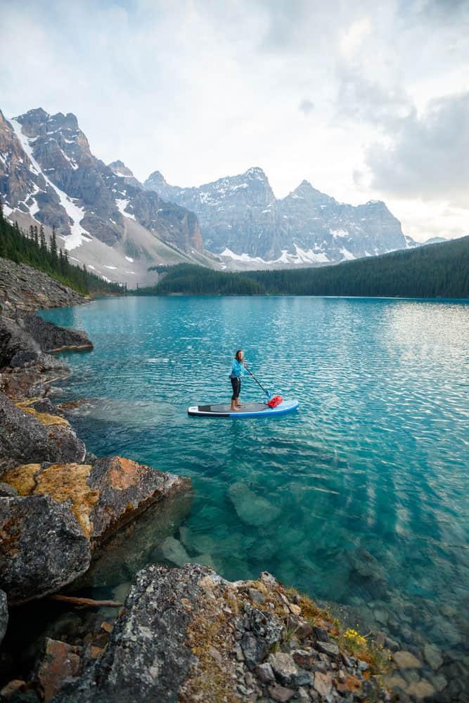 SUP Paddle Boarding in Moraine Lake Alberta Canada