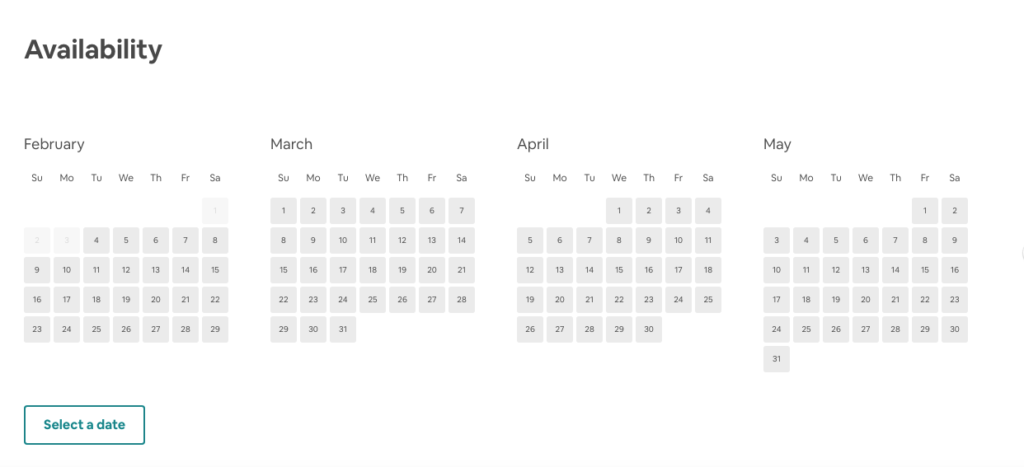 Airbnb Experiences Availability Dates