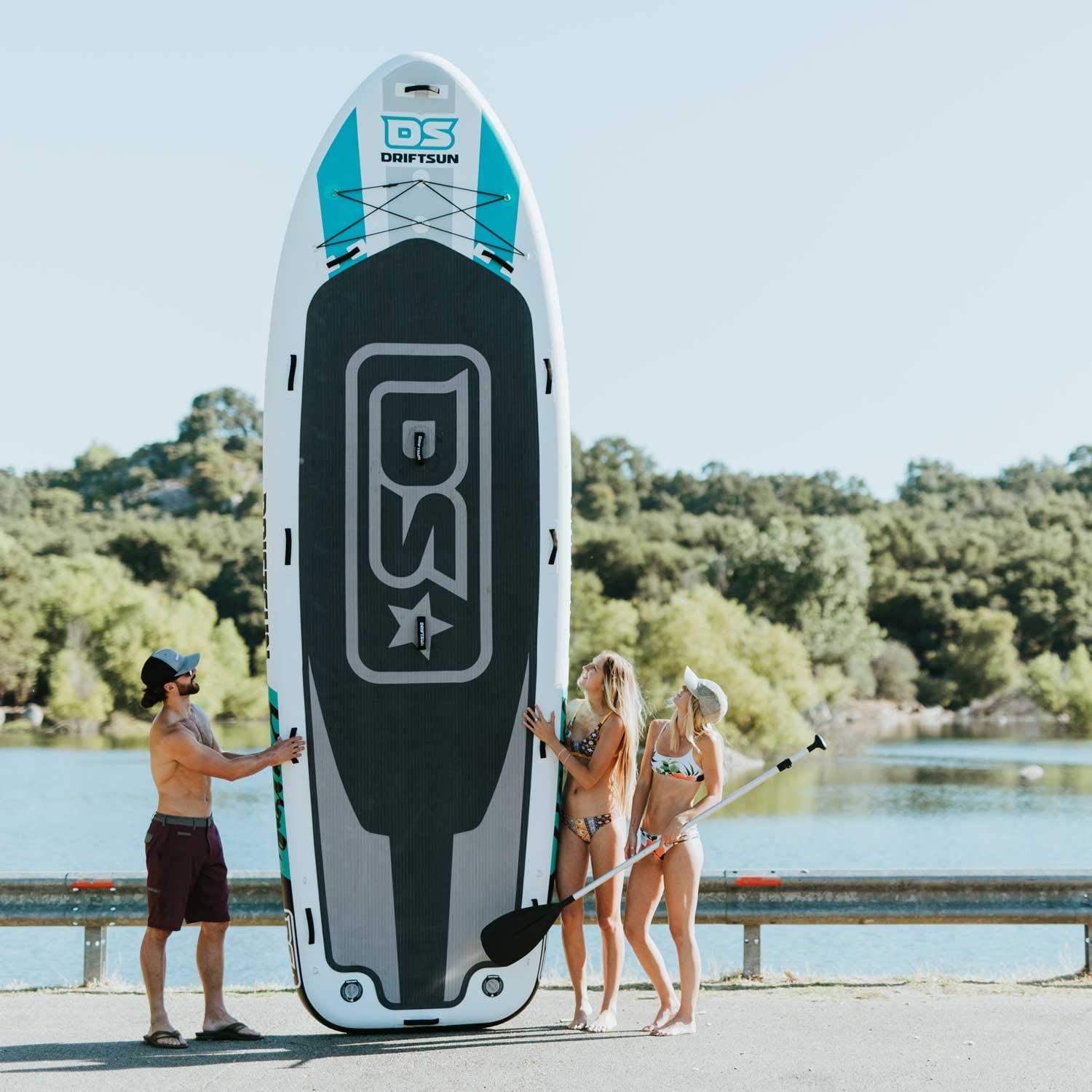 Driftsun Party Barge 15 Foot Inflatable Paddle Board, Large Multi Person Inflatable Stand Up SUP