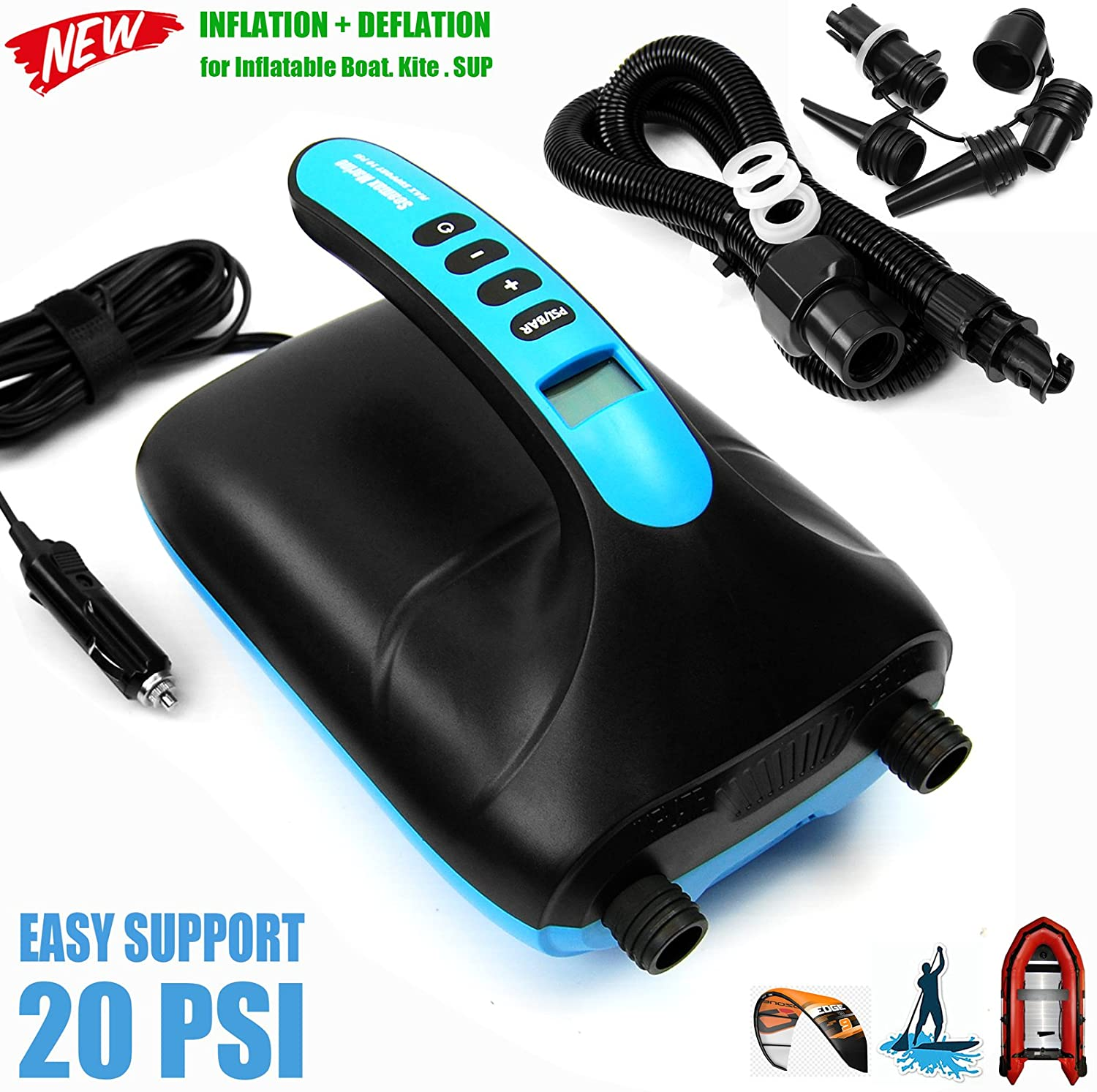 Seamax SUP20D 20PSI Double Stage Electric Air Pump for Inflatable SUP