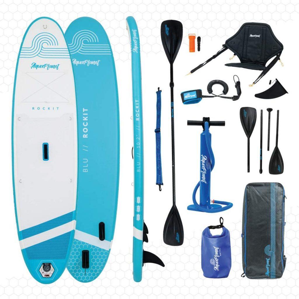 "Aquaplanet Rockit BLU Travel SUP Inflatable Stand Up Paddle Board Kit | 4"" Thick | 10'2"" Long | Kayak Seat"