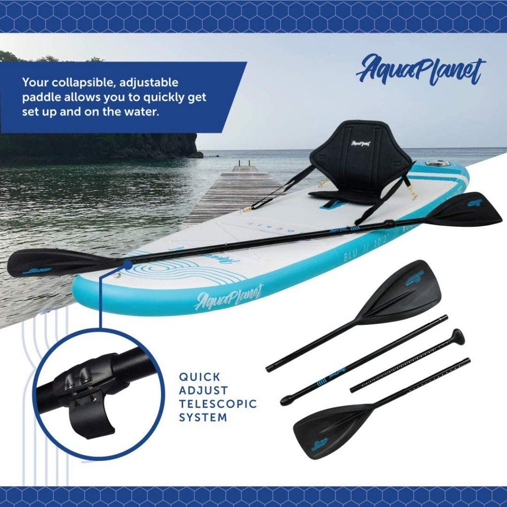 "Aquaplanet Rockit BLU Travel SUP Inflatable Stand Up Paddle Board Kit | 4"" Thick | 10'2"" Long | Kayak Seat3"