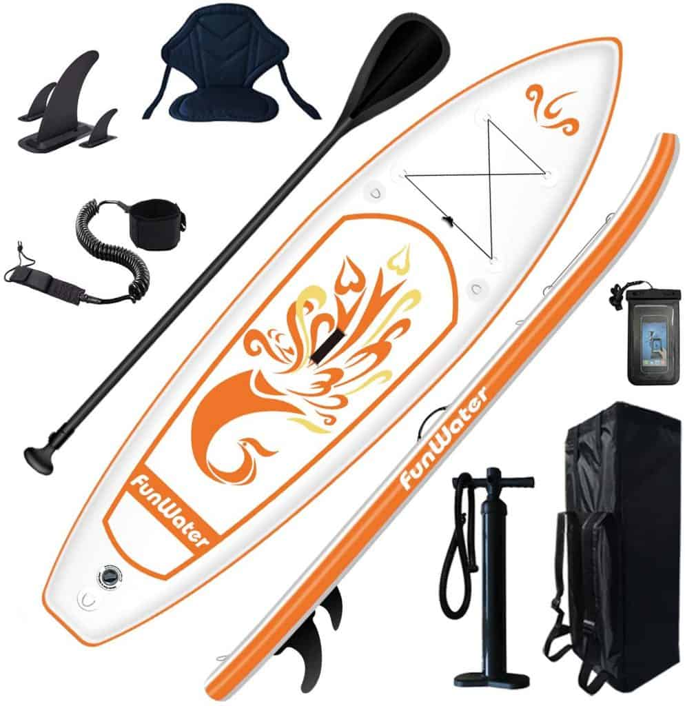 FunWater Inflatable 10'x31''x6'' Stand UP Paddle Board Ultra-Light (17lbs) Everything Included ISUP Adj Paddle Kayak Seat
