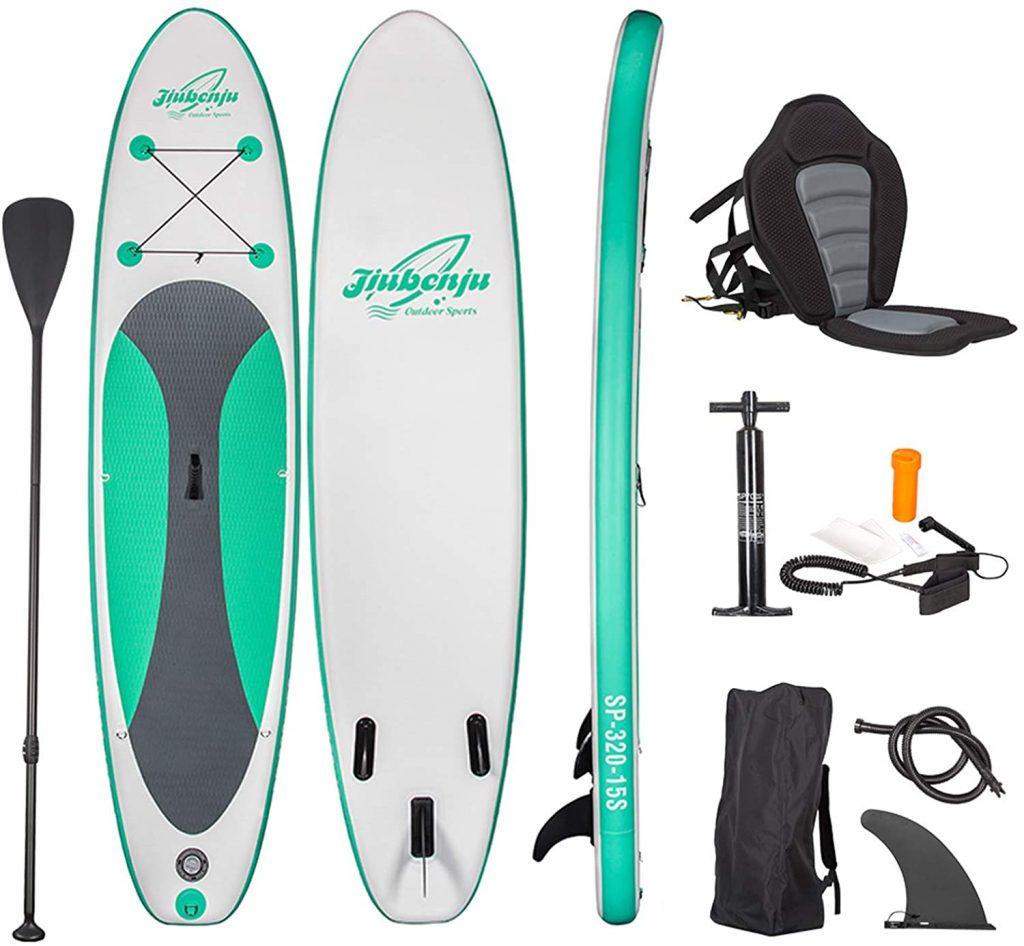Jiubenju All Around Inflatable Stand Up Paddle Board and Kayak Seat Set