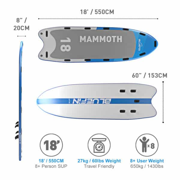 Bluefin SUP 18′ Mammoth Stand Up Paddle Board Kit – 10 Person Group : Family SUP